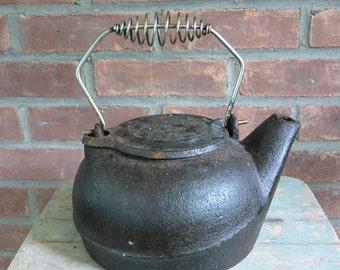 Black Cast Iron Kettle, Swivel Top, Wood Stove Humidifier
