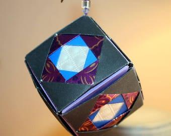 Elegant Origami Black Purple Ivory Kusudama Cube Hanging Ornament
