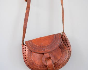 Vintage Mexican Tooled Leather Crossbody Bag