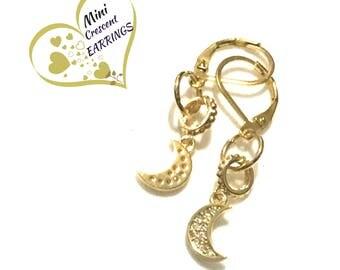 Miniature Sparkling Crescent Earrings, Gold Dainty Earrings, Friendship Gift, Rhinestone CrescentEarrings, Stylish Gift, On Trend Style