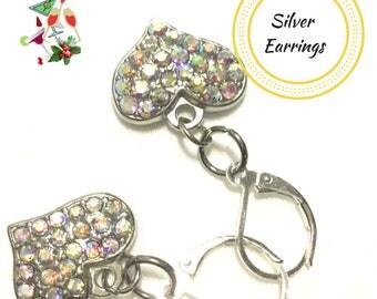 Valentine Small Silver Heart Earrings,Rhinestone Earrings, Girlfriend Gift, Gift for Her,Sparkling Heart Earrings,  Valentine gift