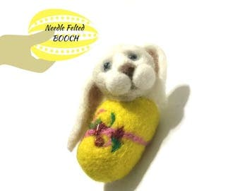 Unique Easter Brooch, Needle Felted Designer Brooch, Versatile Pendant, Perfume Diffuser or fridge Magnet, Easter Gift