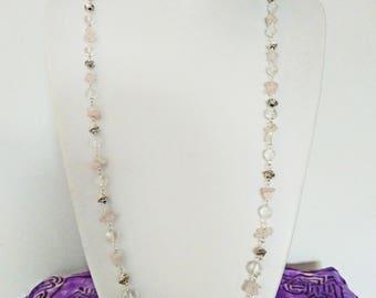Rose quartz and clear quartz necklack