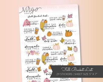 Fall Autumn Bucket List Planner Stickers - Hand Drawn Pumpkin Patch Stickers - Fall Activities Planner Stickers Matte, Glossy RFBL