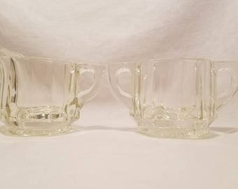 CREAMER SUGAR HEISEY  Heavy Clear Flat Panel Glass Hexagon Bowl Set Antique Vintage Retro