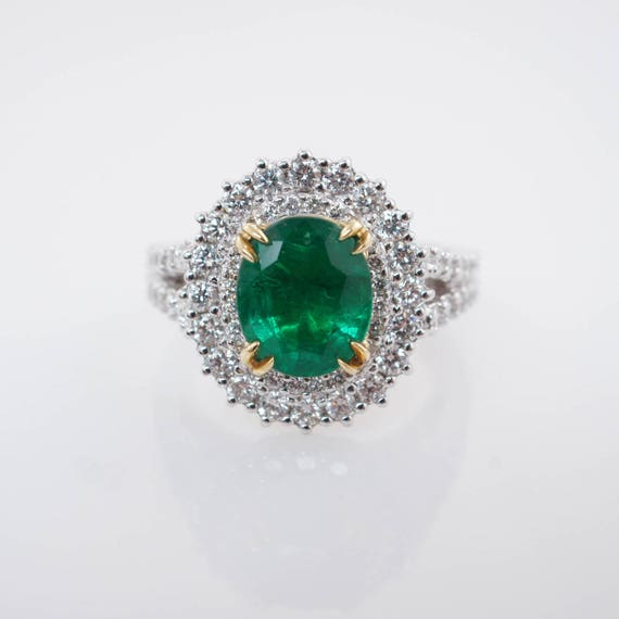 3 Carat Natural Oval Emerald & Double Halo Diamond Engagement Ring White Gold 3 ct natural emerald engagement diamond ring May Birthstone