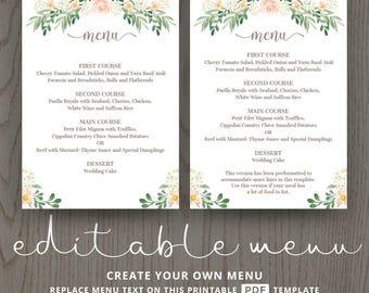 Rustic wedding menu rehearsal dinner menu template, sit down menus, home wedding, printable menu card templates, floral, editable, DIGITAL