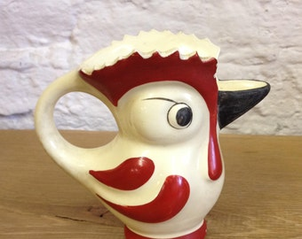 Vintage Large Red and White Ceramic Glazed Parrot Bird Jug. Czechoslavakian  In Good Condition. Nice quirky item.