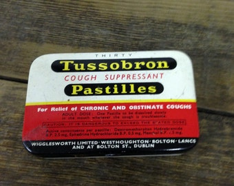Vintage Collectable Tussobron Cough Suppressant Pastilles Tin. In Good Used Condition.