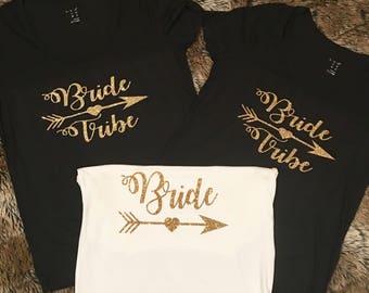 Bride Tribe Shirts Tee Tanks Bachelorette party wedding shower bridal bridesmaid girls women miss to mrs mermaid maid of honor t-shirt