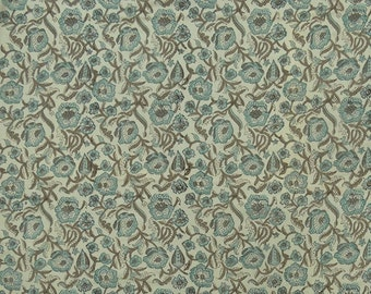 "Cotton Voile Fabric, Floral Hand Block Print, Beige Fabric, Dress Material, Sewing Crafts Fabric, 46"" Inch Fabric By The Yard ZBC8201C"