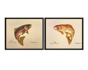 Vintage Rainbow Trout & Brown Trout Art Print Illustration by Teri Renee Blehm, c. 1994 by SCAFA Tourmaline,  Fish Art, Fishing Art