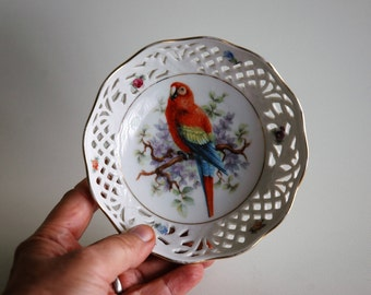 Small porcelain bowl with parrot and reticulated decoration - Schumann Arzberg Germany