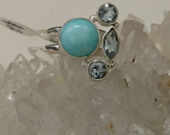 Beautiful Larimar, and Blue Topaz Ring Size 6 1/2