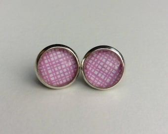 Pink & White 10mm Round Glass Dome Stud Earrings