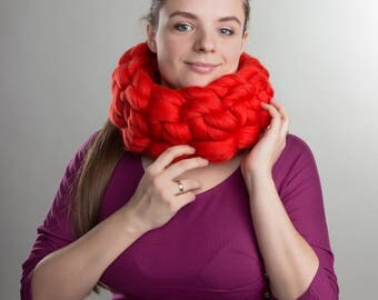 Wool scarf, Infinity scarf, Chunky scarf, Giant scarf, Warm scarf, Knitted scarf, Merino wool scarf, 23 microns, Gift idea, Ocassion