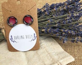 Rose petal stud earrings