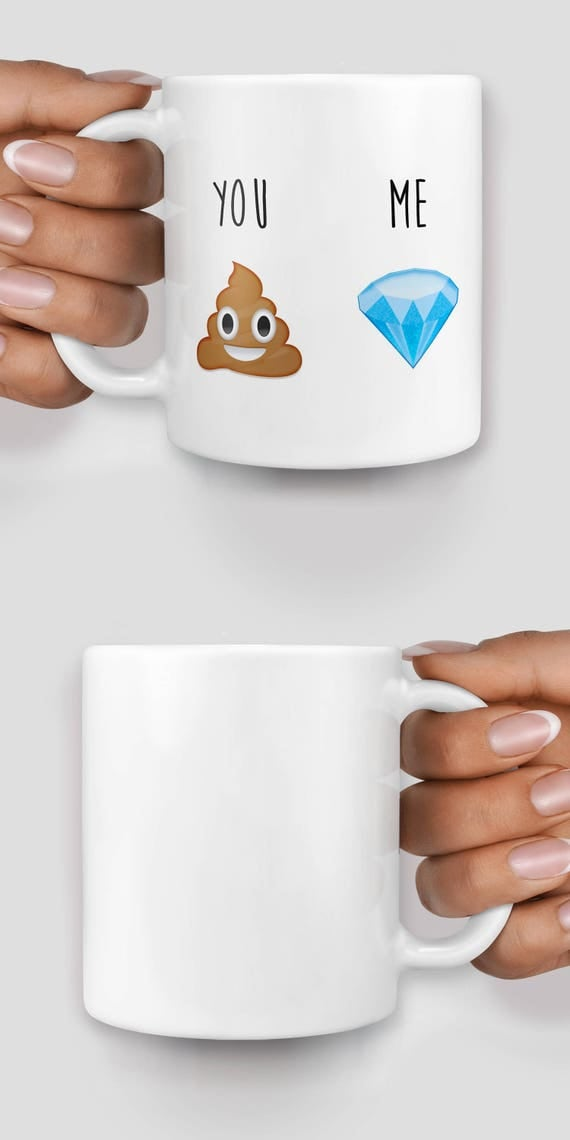 You and me poop and diamond emoji mug - Christmas mug - Funny mug - Rude mug - Mug cup 4P095