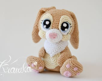 Crochet PATTERN No 1730 Miss Bunny crochet pattern by Krawka, cute girly bunny rabbit crochet animal