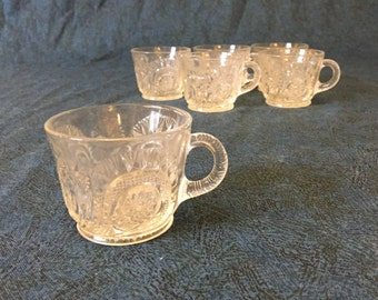 Vintage L E Smith Pinwheel and Stars Punch Cups, Set of 6
