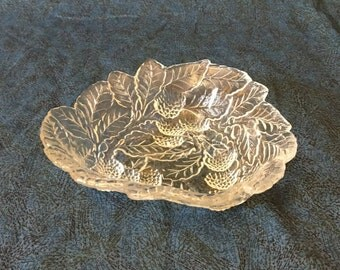 Vintage Indiana Glass Clear Triangular Loganberry Mint Dish, Candy Dish, Depression Glass Bon Bon Dish