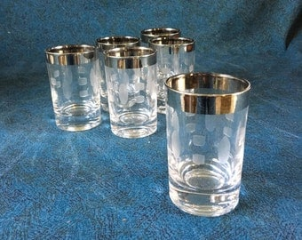 Vintage Silver Rimmed Shot Glasses, Set of 6, Mid Century Silver Barware