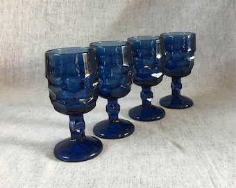 Vintage Viking Cobalt Blue Georgian Wine Glasses, Set of 4, Blue Honeycomb Stemware