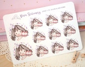 Kawaii Girl Celebrating Birthday, Anniversary Decorative Stickers ~Violet~ For your Life Planner, Diary, Journal, Scrapbook...