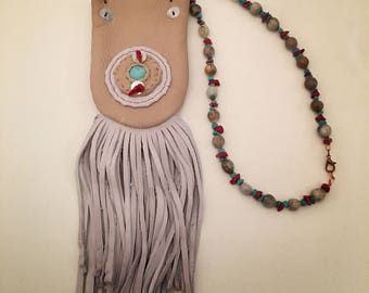 Fringed leather pouch necklace