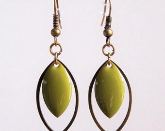 Brass ring and earrings sequin enameled khaki Green