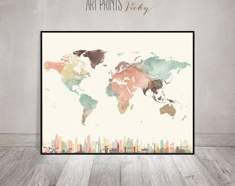 large world map poster in pastel colours  | ArtPrintsVicky.com