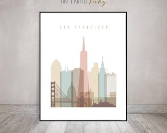 San Francisco Poster Pastel Vertical Skyline Art Print | ArtPrintsVicky.com