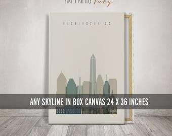Canvas Print, Canvas Art, Canvas Wall Art, Canvas Skyline Poster 24x36 inches, Wall Hanging, Travel Decor, Home Decor, ArtPrintsVicky