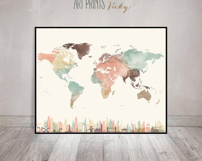 large world map poster in pastel colours  | ArtPrintsVicky.com