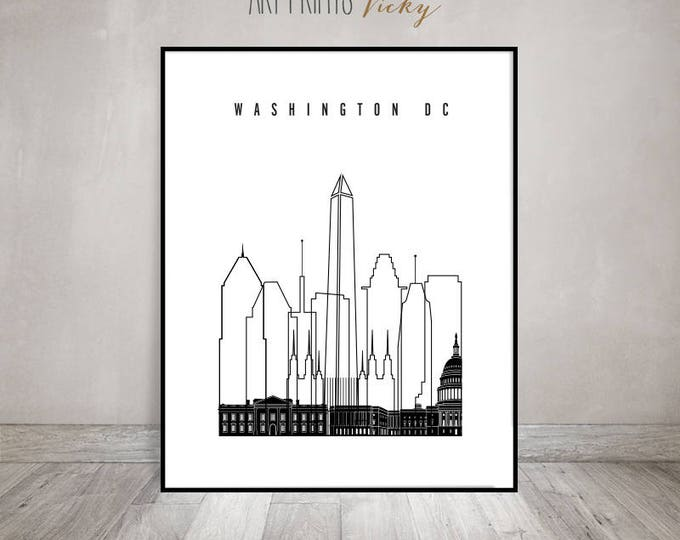Wall art, Washington DC print, minimalist poster black & white poster, travel poster, city prints typography art, gift, ArtPrintsVicky.