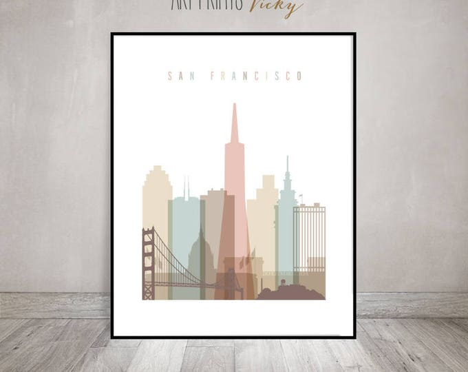 San Francisco wall art, Poster, Print, Wall art, San Francisco skyline, City prints, Travel Gift, Home Decor, Travel decor,ArtPrintsVicky