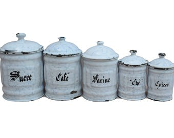 5 French Antique Enamel Canisters Storage Containers - White Granitware Enamelware - French Rustic Cottage Kitchenware Enamelware Pot