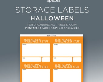 Holiday Storage Labels - Halloween Decorations & More Organizing Labels - PRINTABLE Labels