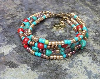 turquoise bracelet, hippie bracelet, tribal bracelet, summer bracelet, boho bracelet, chic bracelet, beach bracelet, tribal bracelet
