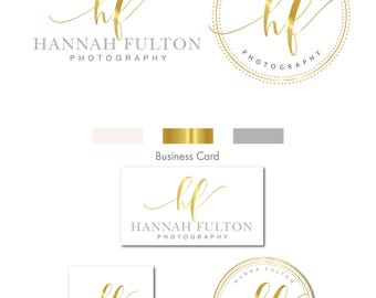 Watercolor logo, Gold logo, Logo, Branding Kit, Mini branding kit, Logo design, Watermark logo, Branding package, Photography logo