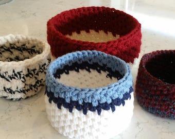 Custom Colors Small Basket, Gift Basket, Crocheted Basket, Display basket, Storage Basket, Choose your Colors, Striped Basket