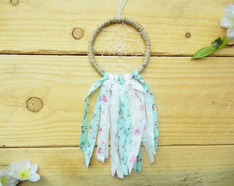 Pink and Mint Small Dreamcatcher: Pink and Mint Nursery Decor, Boho Chic Dreamcatcher, Rearview Mirror Dreamcatcher for Car, Boho Car Charm