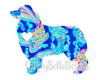 Australian Shepherd Decal | Lilly Pulitzer inspired Australian Shepherd Decal | Dog Decal | Lilly Pulitzer inspired Dog Decal | Car Decal