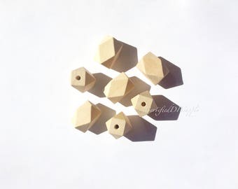 5 Certified Wooden Hexagon Beads/ Unfinished Natural Wood/ Hexagon Beads/ Wood Beads/ Certified Beads/ Wood Teething Beads