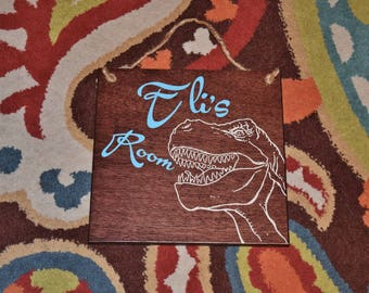 Tyrannosaurus Rex DINOSAUR Kids Room Personalized Sign. Solid Wood, Hand Painted 1-sided- Any Name! Custom made - Color Variations Available