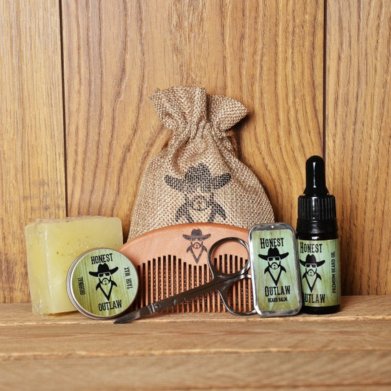 honest outlaw beard grooming kit beard oil beard balm. Black Bedroom Furniture Sets. Home Design Ideas