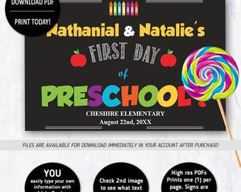 First Day of Preschool Sign for TWINS - INSTANT DOWNLOAD Edit with Acrobat Reader