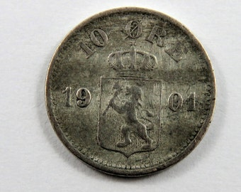 Norway 1901 Silver 10 Ore Coin.