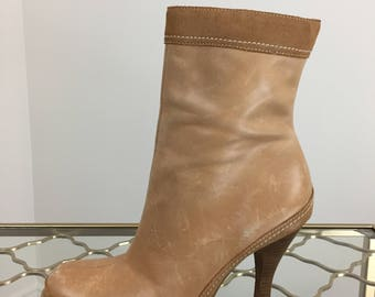 "1990s Boho Brown Leather Booties - Sexy Short Tan Boots - 3.5"" High Heel - Size 6.5 US - Contrast Stitching"