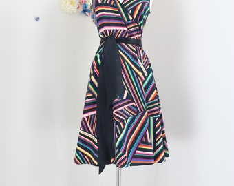 1990s Striped Rainbow Dress - Fit And Flare - Multicoloured Geometric Print Sleeveless Summer Spring Dress - V-Neck - Belted - Size Medium